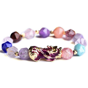 Natural Purple Crystal Color Changing Pixiu Healing Bracelet - FengshuiGallary