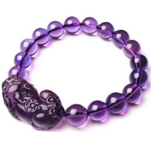 Natural Purple Crystal Pixiu Health & Wealth Bracelet - FengshuiGallary