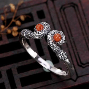 Natural Red Agate 925 Silver Feng Shui Lucky Ring - FengshuiGallary