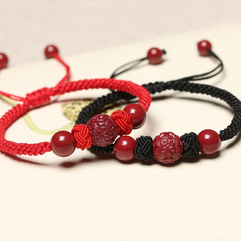 Natural Red Cinnabar Beads Wealth Red Rope Bracelet - FengshuiGallary