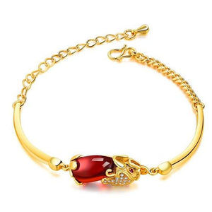 Natural Red Garnet Gold Pixiu Wealth Bracelet - FengshuiGallary