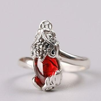Natural Red Garnet Pixiu Thai Silver Wealth Ring - FengshuiGallary