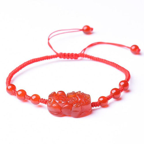 Natural Red Garnet Pixiu Wealth Anklet Bracelet - FengshuiGallary