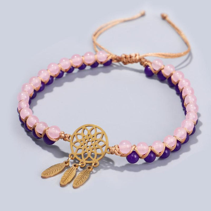 Natural Strawberry Crystal Three Leaves Charm Lucky Bracelet - FengshuiGallary
