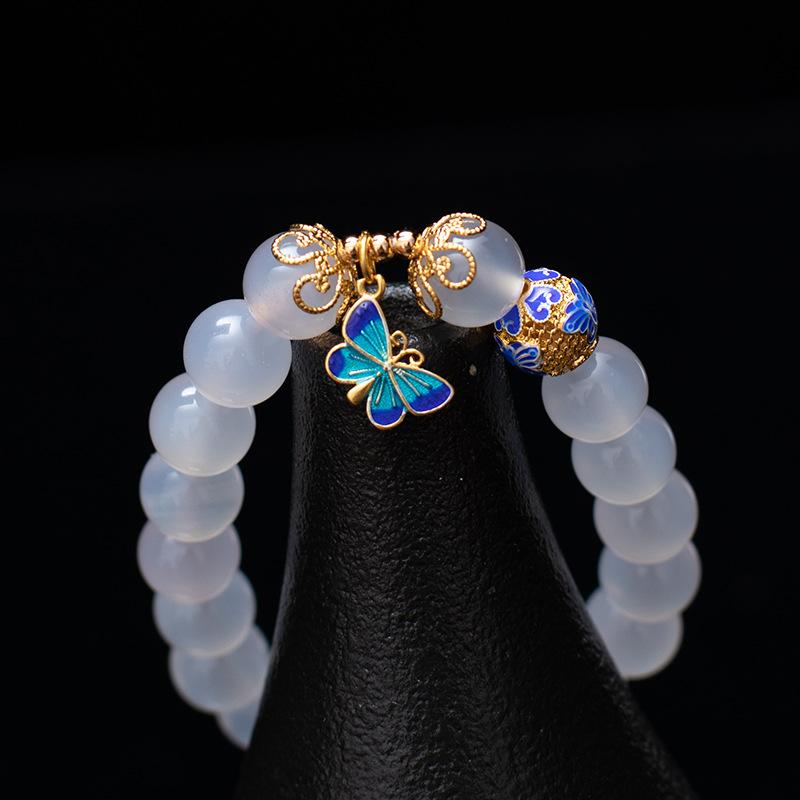 Natural White Agate Cloisonne Butterfly Healing Bracelet - FengshuiGallary