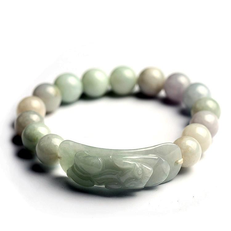 Natural White Jade Blessings & Good Luck Pixiu Lucky Bracelet - FengshuiGallary