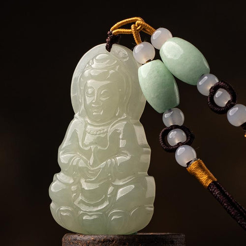 Natural White Jade Guanyin Buddha Healing Pendant - FengshuiGallary