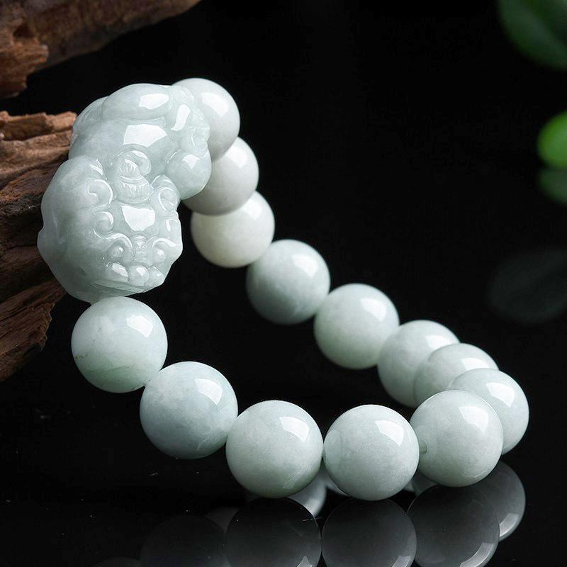 Natural White Jade Pixiu Wealth Bracelet - FengshuiGallary