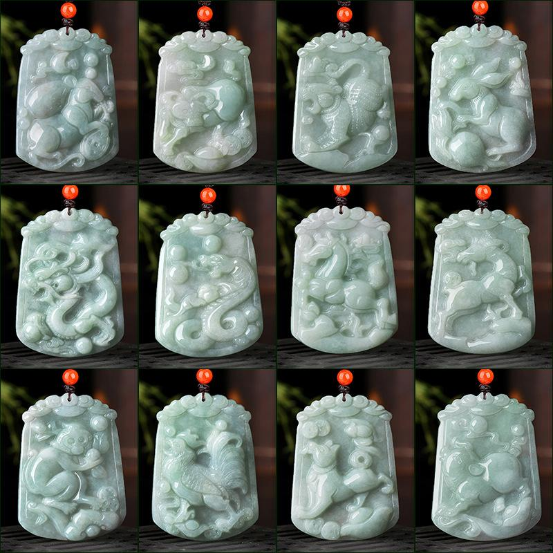 Natural Whithe Jade 12 Chinese Zodiac Lucky Amulet Pendant Necklace - FengshuiGallary