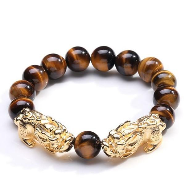 Natural Yellow Tiger`s Eye Gold Double Pixiu Lucky Bracelet - FengshuiGallary