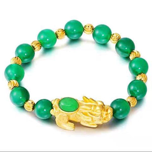 New Edition Natural Agate 24k Gold Pixiu Healing Bracelet - FengshuiGallary