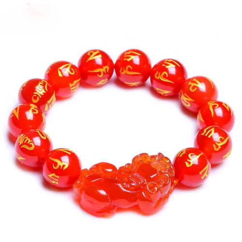 New Edition Red Agate Lucky Pixiu Wealth Bracelet(Six Ture Words) - FengshuiGallary