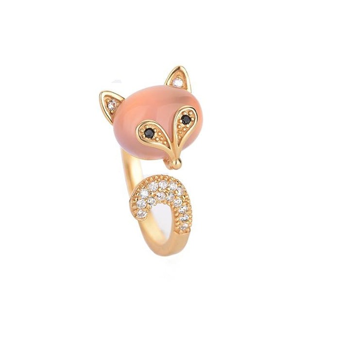 Pink Crystal Fox Cubic Zirconia Gold Protection Ring - FengshuiGallary