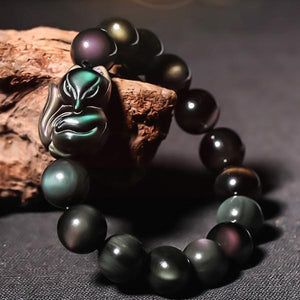 Rainbow Obsidian Feng Shui Fox Amulet Protection Bracelet - FengshuiGallary