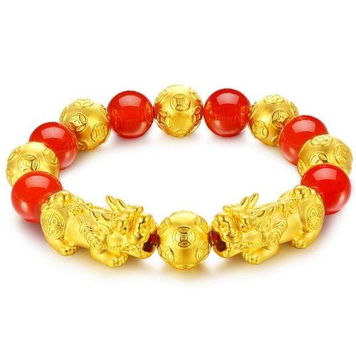 Red Agate Double 24k Gold Pixiu Wealth Bracelet - FengshuiGallary