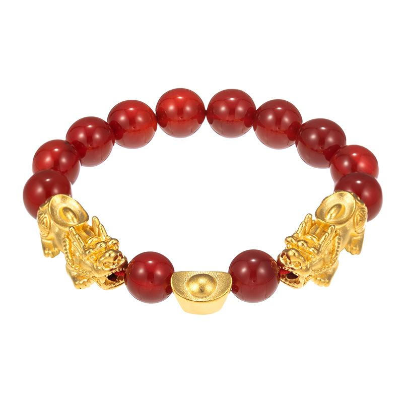 Red Agate Double Pixiu Ingots Wealth Bracelet - FengshuiGallary