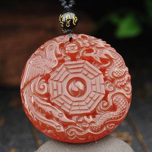 Red Agate Dragon & Phoenix Auspicious Pendant Beads Necklace - FengshuiGallary