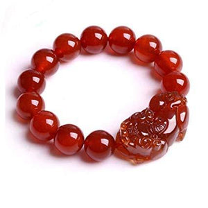 Red Agate Lucky Pixiu Wealth Bracelet - FengshuiGallary
