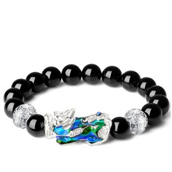 Silver Color Changing Pixiu Obsidian Lucky Bracelet - FengshuiGallary