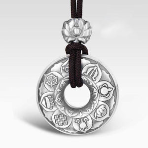 Tibetan Ashtamangala Six-True-Words Mantra Silver Pendant - FengshuiGallary
