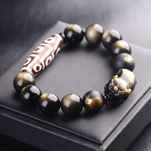 Tibetan Dzi Bead Gold Obsidian Pixiu Protection Bracelet - FengshuiGallary