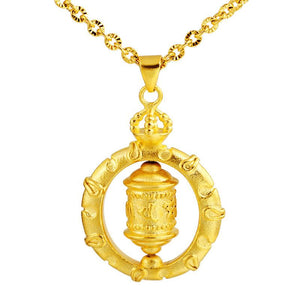 Tibetan Six True Words Mantra Prayer Wheel Gold Pendant Necklace - FengshuiGallary