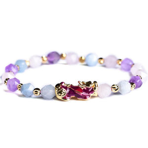 Wealth Pixiu Charm In Natural Amethyst Bracelet - FengshuiGallary