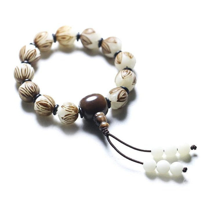 White Bodhi Beads Prayer Bracelet - FengshuiGallary