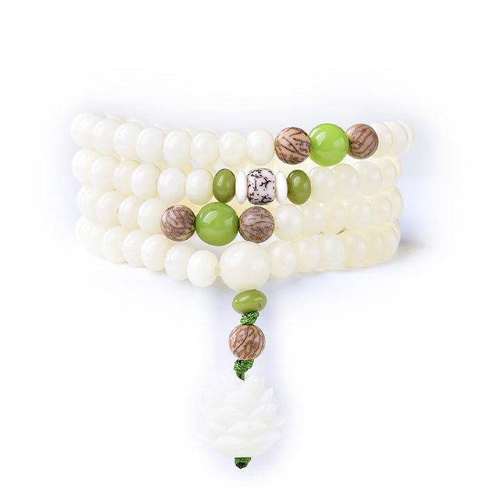 White Bodhi Root 108 Beads Lotus Prayer Bracelet - FengshuiGallary