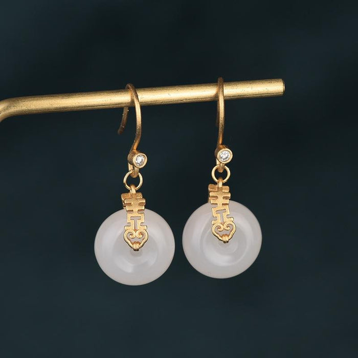 White Jade Double Happiness Wealth Earring - FengshuiGallary