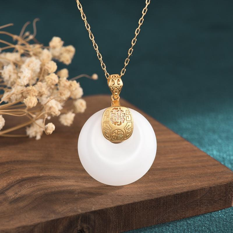 White Jade Gold Fu Wealth Pendant Necklace - FengshuiGallary