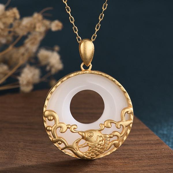 White Jade Koi Fish Feng Shui Wealth Gold Pendant Necklace - FengshuiGallary