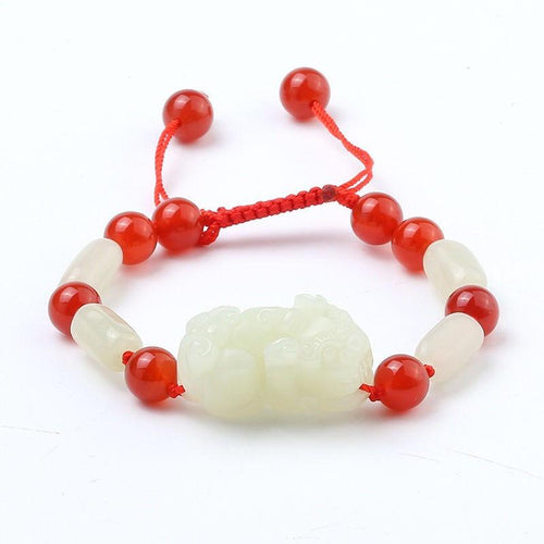 White Jade Pixiu Lucky Bracelet - FengshuiGallary