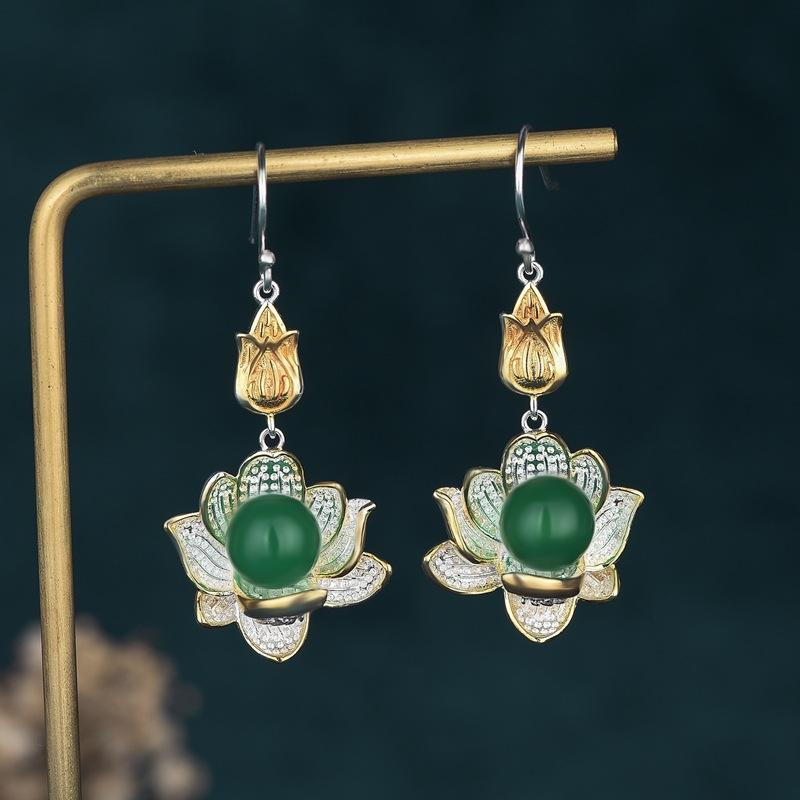 White Lotus Green Jade Drop Lucky Earring - FengshuiGallary
