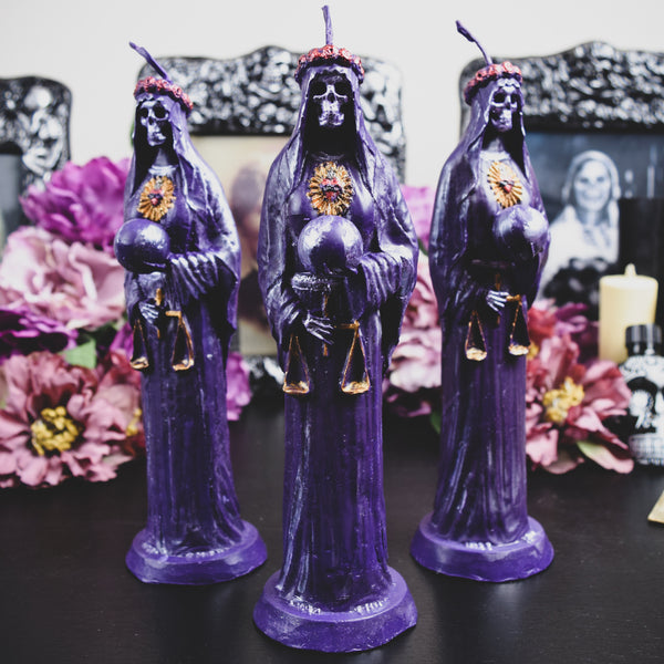 Purple Santa Muerte - beeswax candle
