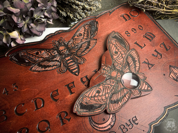Planchette - Copper Death's head moth Red wood