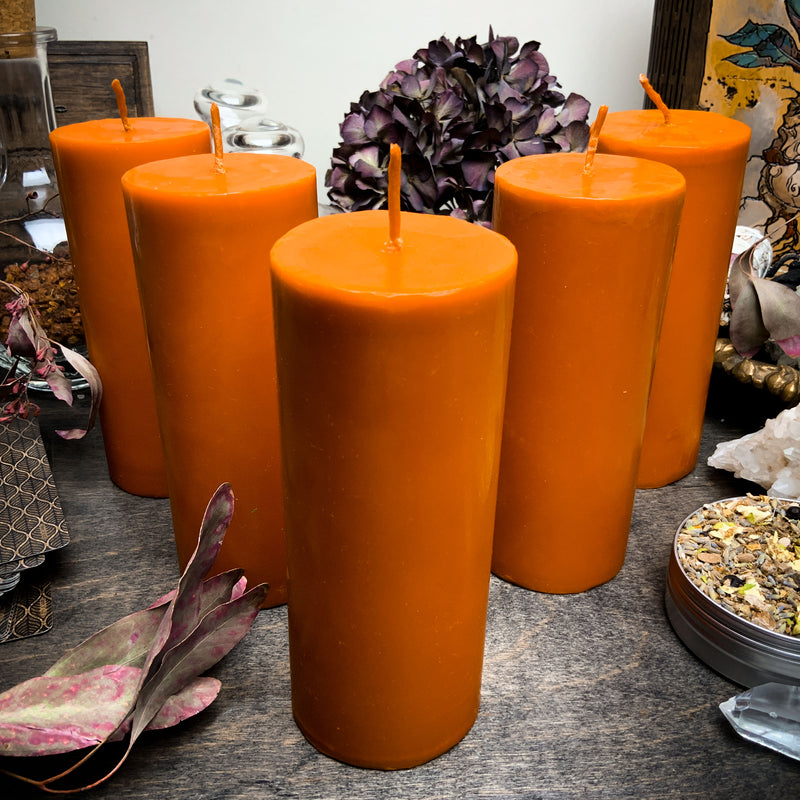 Big Orange cylinder - Beeswax candle