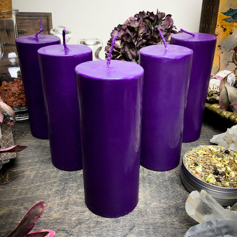 Big Purple cylinder - Beeswax candle