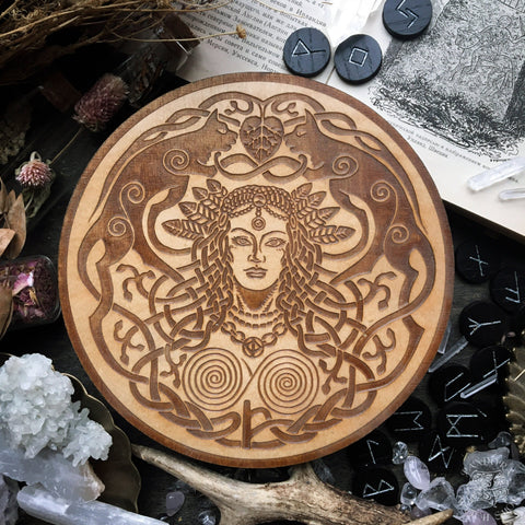 Wooden pentacle with engraving goddess Freyja from Norse mythology (Freya, Freyia or Freja)