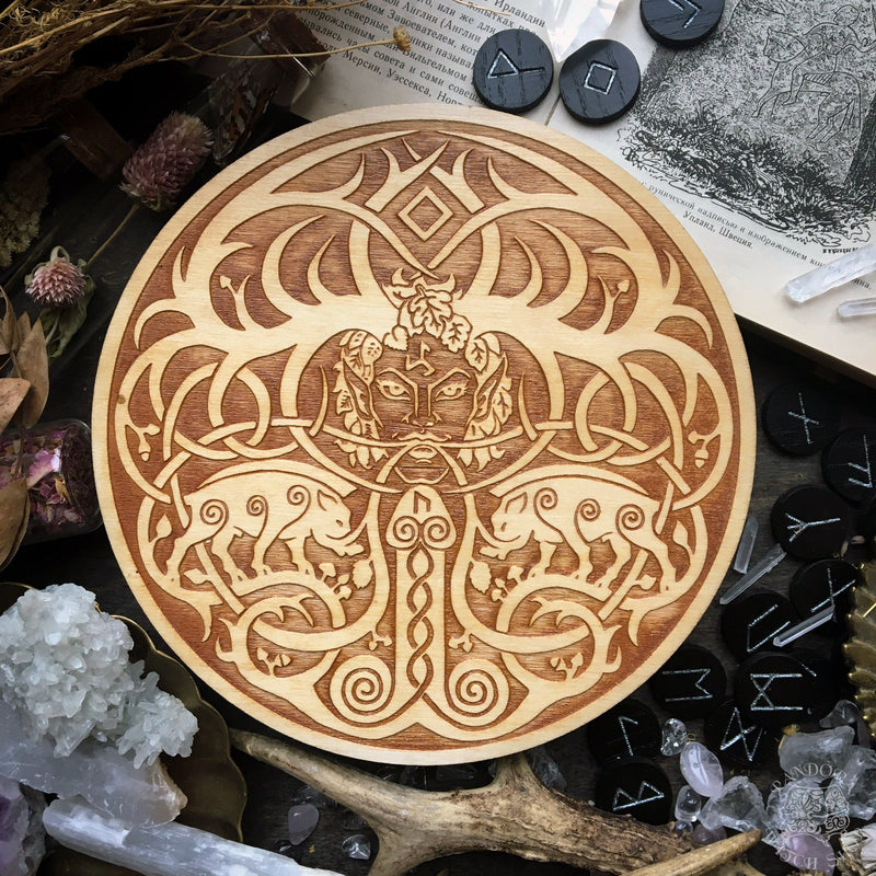 Wooden pentacle with engraving god Freyr from Norse mythology (Frey)