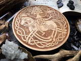 Wooden pentacle with engraving god Odin from Norse mythology (Wotan, Wuotan)