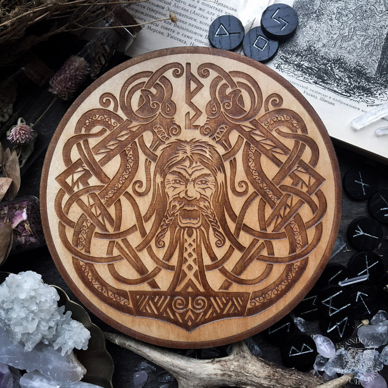 Wooden pentacle with engraving god Thor from Norse mythology