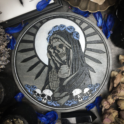 Altar Pentacles - Santa Muerte - Gray Wood