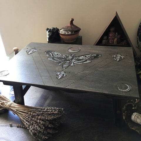 "Altar Table ""Silver Death's Head Moth"""