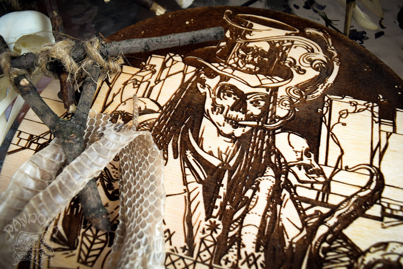 Wooden pentacle with engraving Baron Samedi and his Veve - Lord of Death - Loa from Haitian Vodou (voodoo). Baron Samedi also known as Baron Samdi, Bawon Samedi, or Bawon Sanmdi.