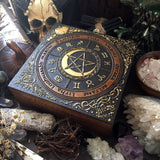 "Box - Wheel Of The Year ""PentaMoon"" - Dark Wood And Gold"
