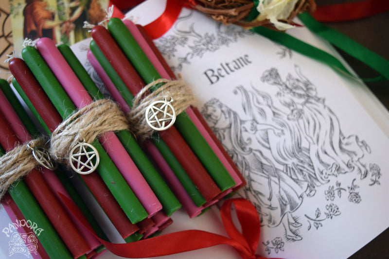 Candle - Beltane - Wheel Of The Year - Set Of Beeswax Candles