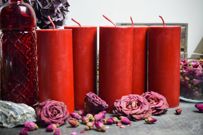 Candle - Big Red Cylinder - Beeswax Candle