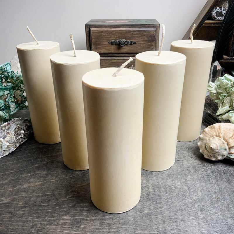 Candle - Big White Cylinder - Beeswax Candle