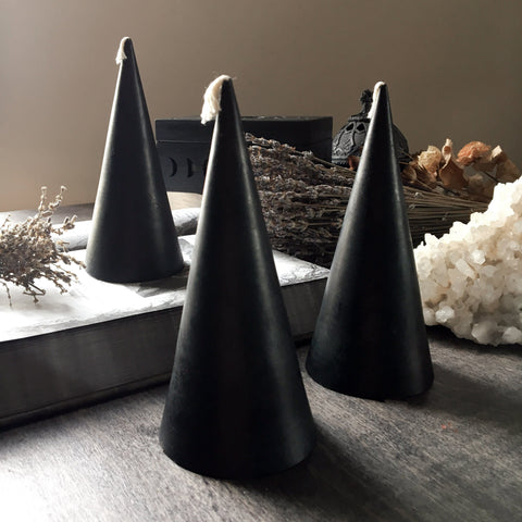 Candle - Black Cone - Beeswax Candle